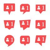 Uppsättning av nio meddelanden i socialt massmedia stock illustrationer