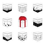 Uppsättning av nio olika gåvaaskar Arkivfoto