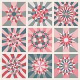 Uppsättning av nio vektor symmetriska Mandala Ornament Pattern Royaltyfria Bilder