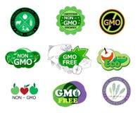 Uppsättning av non den GMO symboler och logoen Royaltyfria Bilder