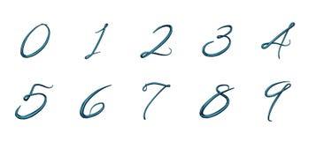 Uppsättning av nummer 3d från 0 till 9 royaltyfri illustrationer