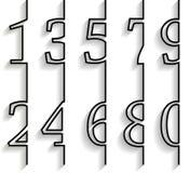 Uppsättning av nummer med lång skugga Arkivfoto