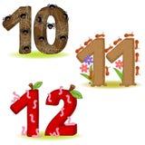 Uppsättning av nummer med nummer av djur från 10 till 12 Royaltyfri Fotografi