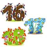 Uppsättning av nummer med nummer av djur från 16 till 18 Royaltyfri Fotografi