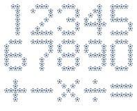 Uppsättning av nummer och bollen för matematiksymbolfotboll Fotografering för Bildbyråer