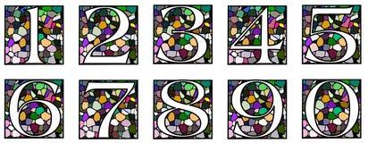 Uppsättning av nummer på mosaik Arkivfoto