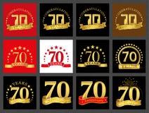 Uppsättning av nummer sjuttio 70 år berömdesign För nummermall för årsdag guld- beståndsdelar för ditt födelsedagparti royaltyfri illustrationer