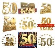Uppsättning av numret femtio år 50 år berömdesign Arkivbilder