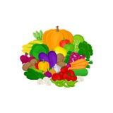Uppsättning av nya färgrika grönsaker som isoleras på vit bakgrund stock illustrationer