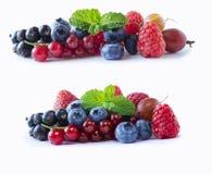 Uppsättning av nya frukter och bär Mogna blåbär, röda vinbär, svart vinbär, hallon och jordgubbar Isolerade blandningbär arkivbild