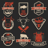 Uppsättning av nya nötköttetiketter Slakt shoppar emblem vektor för bild för designelementillustration royaltyfri illustrationer
