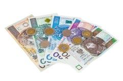 Uppsättning av nya polska sedlar och mynt Fotografering för Bildbyråer