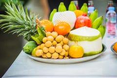 Uppsättning av nya tropiska frukter inklusive bananen, apelsin, ananas Arkivfoton