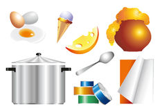 Uppsättning av objekt och mat för köket vektor illustrationer