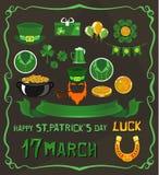 Uppsättning av objekt på tema för dag för St Patrick ` s royaltyfria bilder