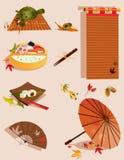 Uppsättning av objekt släkta japansk kultur Arkivfoto