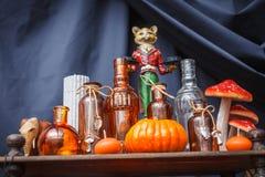 Uppsättning av objekt som firar halloween Arkivfoton
