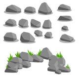Uppsättning av objekt - stenar Naturlig bakgrund vektor illustrationer