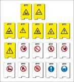 Uppsättning av obligatoriskt tecken, faratecken, det förbjudna tecknet, yrkes- säkerhet och vård- tecken, varnande skylt, nö stock illustrationer