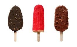 Uppsättning av olik choklad- och frukticecream fotografering för bildbyråer