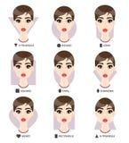 Uppsättning av olik kvinnas framsidaformer Form för nio kvinnlig framsidor Arkivbilder