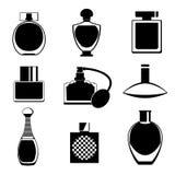 Uppsättning av olik typ av parfumeflaskor stock illustrationer
