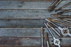 Uppsättning av olik utrustning för dragning med kopieringsutrymme, carpente Royaltyfria Foton