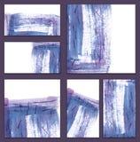 Uppsättning av olika affärskort, jackettmallar - abstrakt blå vattenfärg hand-målad bakgrund i Chineese stil stock illustrationer