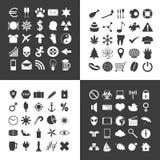 Uppsättning av 100 olika allmänna symboler för ditt bruk Arkivbilder