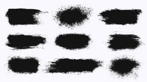 Uppsättning av olika baner för slaglängd för färgpulvermålarfärgborste som isoleras på vit bakgrund Grunge bakgrunder också vekto royaltyfri illustrationer