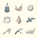 Uppsättning av olika campa symboler Arkivfoton