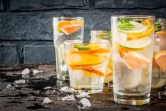 Uppsättning av olika citrusa drinkar Royaltyfri Fotografi