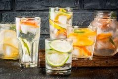 Uppsättning av olika citrusa drinkar Fotografering för Bildbyråer