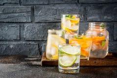 Uppsättning av olika citrusa drinkar Arkivbilder