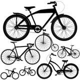 Uppsättning av olika cyklar, cyklar Arkivfoto