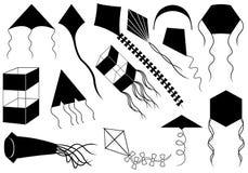 Uppsättning av olika drakar Arkivbild