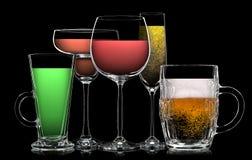 Uppsättning av olika drinkar i olika exponeringsglas royaltyfri fotografi