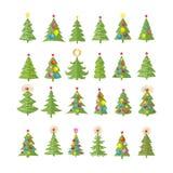 Uppsättning av olika eleganta julträd royaltyfri illustrationer