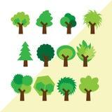 Uppsättning av olika enkla träd Fotografering för Bildbyråer