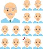 Uppsättning av olika europeiska avatargamala män i färgrik plan stil arkivfoton