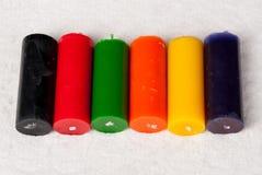 Uppsättning av olika färgstearinljus Royaltyfri Foto