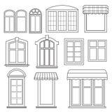 Uppsättning av olika fönster med markiser Royaltyfri Bild