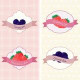 Uppsättning av olika former med jordgubben och vinbäret på två modellbakgrunder med prickar och hjärtor stock illustrationer