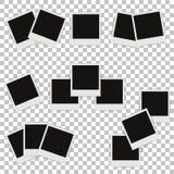 Uppsättning av olika fotoramar med skuggor Arkivfoto