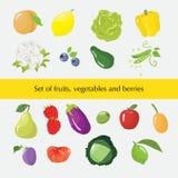 Uppsättning av olika frukter, grönsaker och bär Royaltyfri Bild