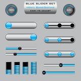 Uppsättning av olika glidarestångkontrollbord i blått D Fotografering för Bildbyråer