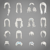 Uppsättning av olika gråa frisyrer för kvinnor Royaltyfria Foton