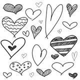 Uppsättning av olika grafiska hjärtor Arkivbilder