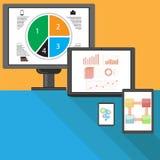 Uppsättning av olika internetapparater stock illustrationer