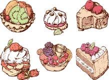 Uppsättning av olika kakor med frukt Royaltyfri Foto